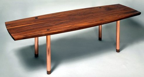 Coffee Table With Copper Legs And Inlay